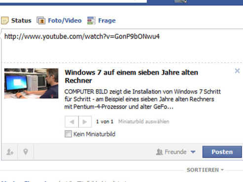 YouTube-Video bei Facebook © Facebook