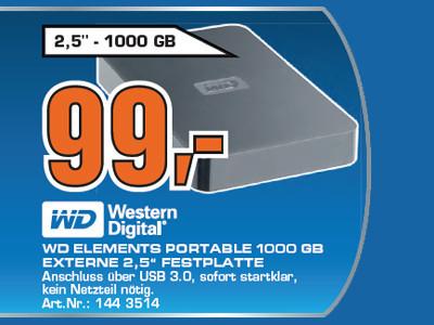 Western Digital Elements SE Portable USB 3.0 1TB ©Saturn