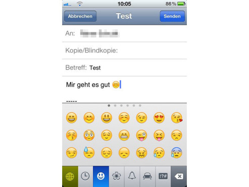 Screenshot Emoticons auf dem iPhone © COMPUTER BILD