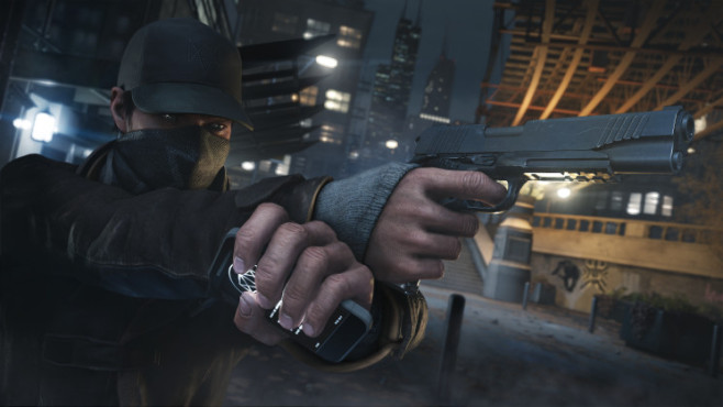 Actionspiel Watch Dogs: Smartphone und Pistole © Ubisoft
