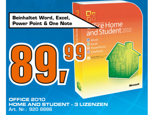 Microsoft Office 2010 Home And Student (Win) (DE) © Saturn