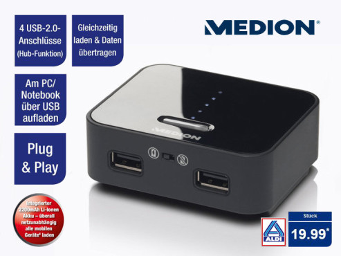 Medion P89084 (MD86518) Mobile Akku USB-Ladestation © Aldi Nord
