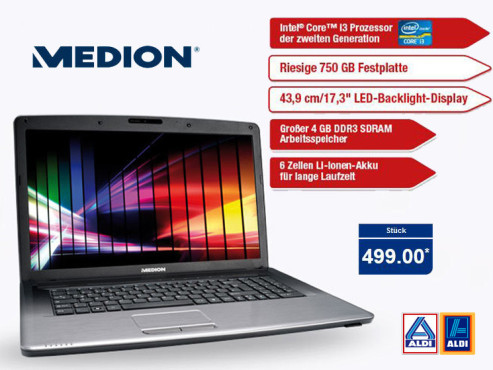 Notebook Medion Akoya E7222 (MD99030) ©Aldi Nord