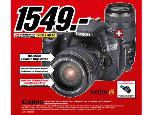 Canon EOS 60D Kit 17-85 mm + 70-300 mm © Media Markt