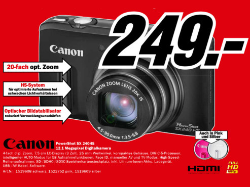 Canon PowerShot SX240 HS ©Media Markt