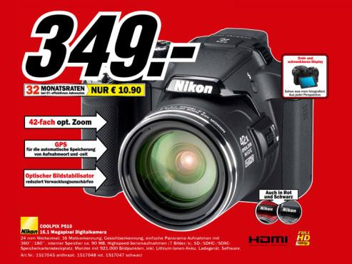 Nikon Coolpix P510 ©Media Markt