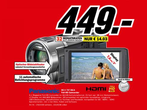 Panasonic HC-V707 ©Media Markt