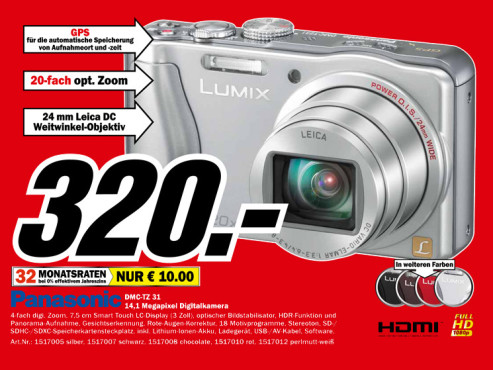 Panasonic Lumix DMC-TZ31 © Media Markt