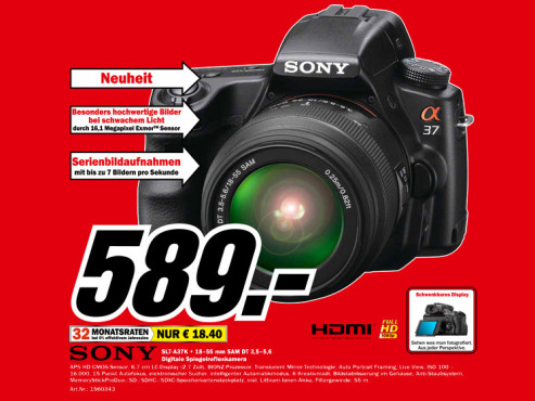 Sony Alpha 37 Kit 18-55 mm (SLTA37K) © Media Markt