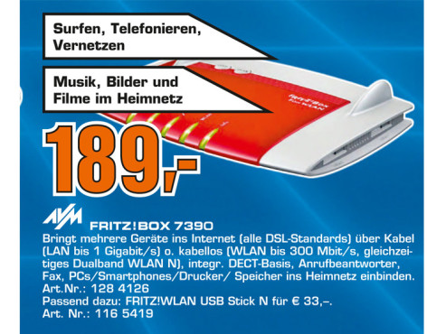 AVM FRITZ!Box Fon WLAN 7390 © Saturn