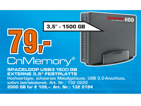 CnMemory 3.5 Spaceloop USB 3.0 1.5TB © Saturn