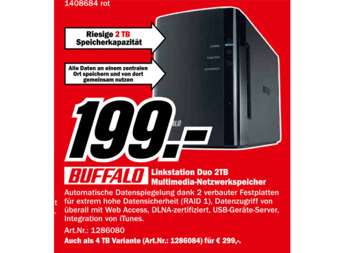 Buffalo LinkStation Duo 2TB ©Media Markt