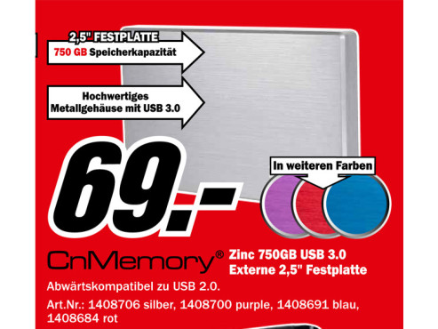 CnMemory 2.5 Zinc USB 3.0 750GB ©Media Markt