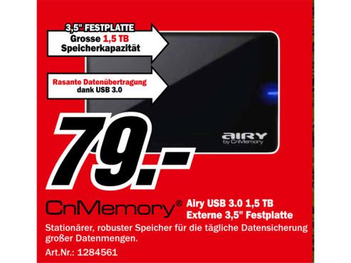 CnMemory 3.5 Airy USB 3.0 1.5TB ©Media Markt