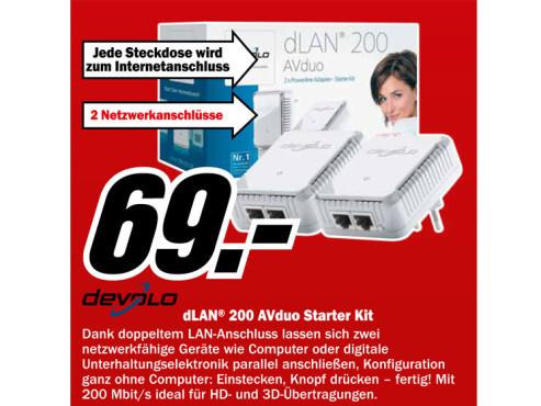 Devolo dLAN 200 AVduo - Starter Kit (9054) ©Media Markt
