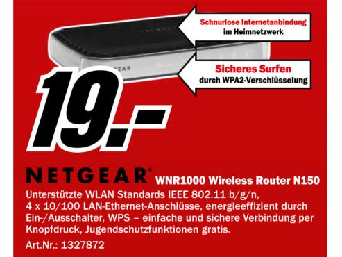 Netgear RangeMax N150 Wireless Router (WNR1000) ©Media Markt