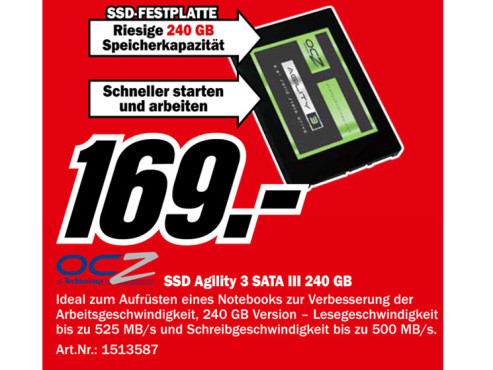 OCZ Agility 3 240GB SATA III 2.5 SSD ©Media Markt