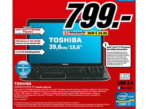 Toshiba Satellite L850-11Q ©Media Markt