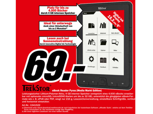 Trekstor eBook Player Pyrus ©Media Markt