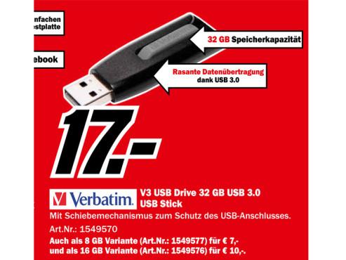 Verbatim V3 Store 'n' Go USB 3.0 32GB ©Media Markt
