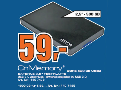 CnMemory 2.5 Core USB 3.0 500 GB © Saturn
