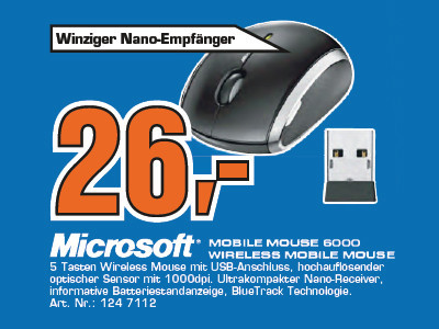 Microsoft Mobile Mouse 6000 © Saturn