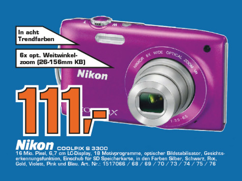 Nikon COOLPIX S3300 © Saturn