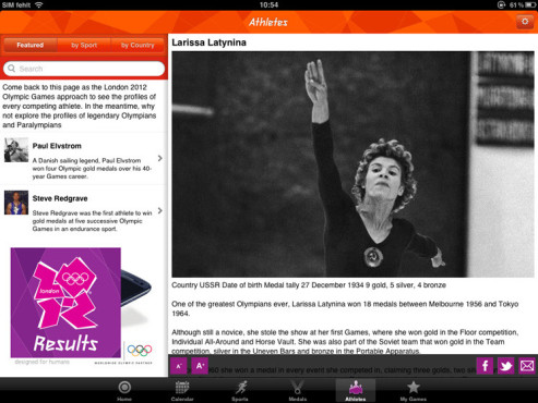 London 2012 – Official Results App ©The London Organising Committee of the Olympic Games and Paralympic Games