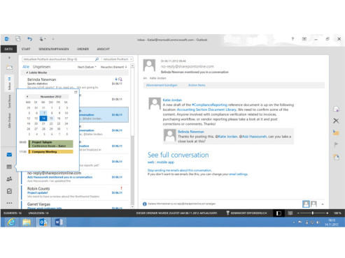 Microsoft Outlook 2013 Layout © COMPUTER BILD