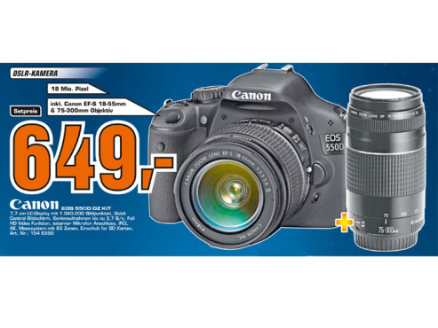 Canon EOS 550D Kit 18-55 mm + 75-300 mm ©Saturn