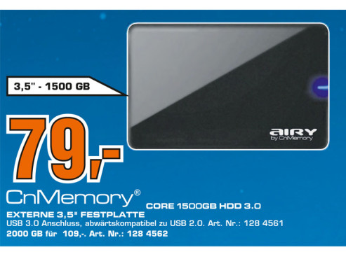 CnMemory 3.5 Core USB 3.0 1.5TB © Saturn