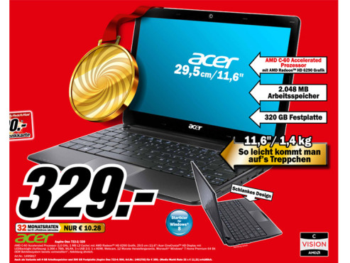 Acer Aspire One 722-2/320 ©Media Markt