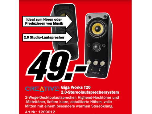 Creative GigaWorks T20 Series II (51MF1610AA000) ©Media Markt