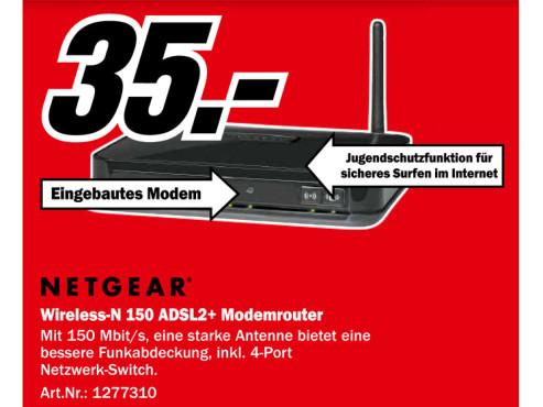 Netgear Wireless-N 150 ADSL2+ Modemrouter (DGN1000B) ©Media Markt