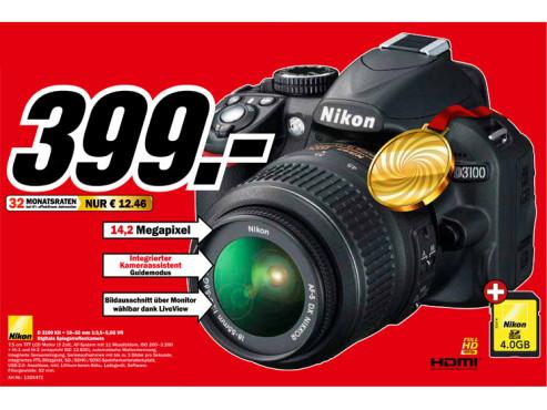 Nikon D3100 Kit 18-55 mm ©Media Markt