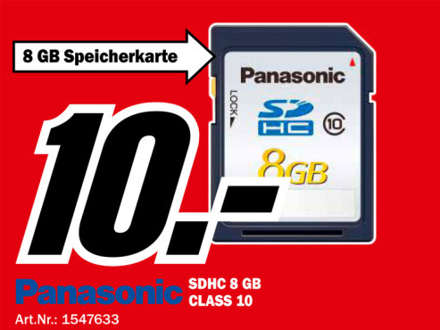 Panasonic Silver SDHC 8GB Class 10 Card ©Media Markt