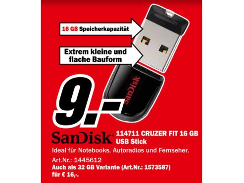 Sandisk Cruzer Fit 16GB ©Media Markt