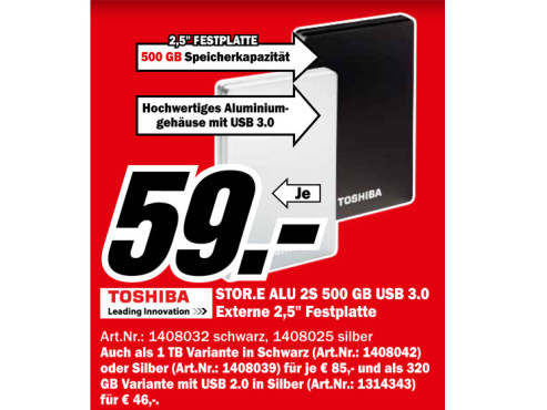 Toshiba StorE Alu 2S 500GB 2.5 ©Media Markt