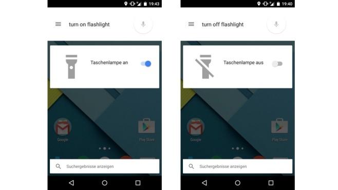 Google Now: Taschenlampe ein- und ausschalten ©COMPUTER BILD