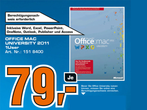 Microsoft Office 2011 University (Mac) (DE) © Saturn