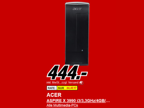 Neu dabei: Acer Aspire X3990 (PT.SGKE2.286) ©Media Markt