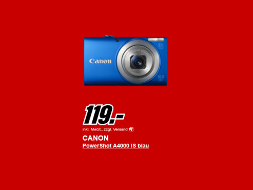 Neu dabei: Canon PowerShot A4000 IS © Media Markt