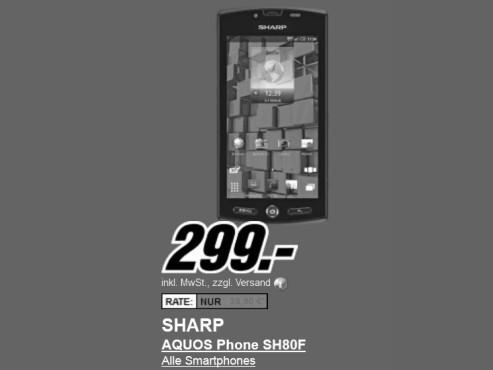 Neu dabei: Sharp Aquos Phone (SH-80F) © Media Markt