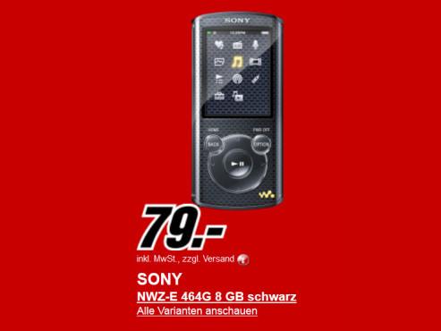 Neu dabei: Sony NWZ-E464 8GB ©Media Markt
