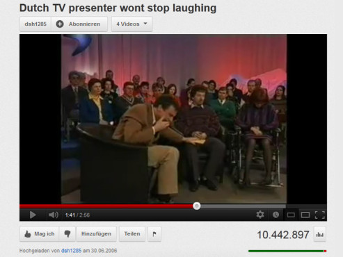 """Dutch TV presenter wont stop laughing"" © YouTube"