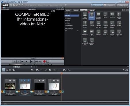 Magix Video Deluxe 2013 © COMPUTER BILD