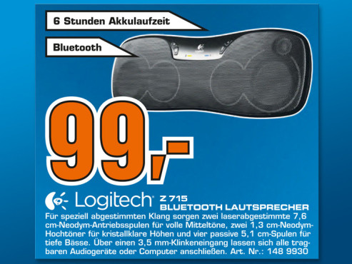 Logitech Wireless Boombox Z715 © Saturn
