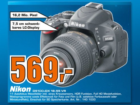 Nikon D5100 Kit 18-55 mm © Saturn