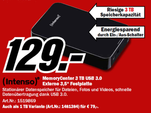 Intenso Memory Center 3 TB © Media Markt