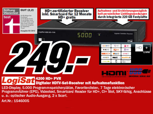LogiSat 4200 HD+ PVR 320GB © Media Markt